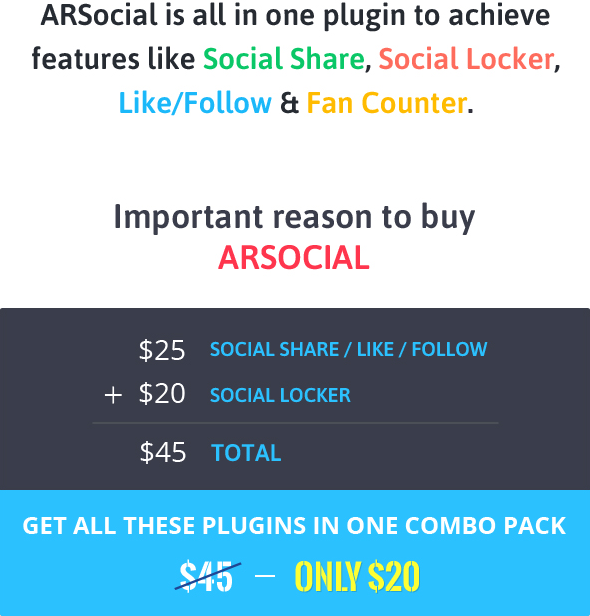 ARSocial - Social Share Buttons & Social Locker Plugin 1