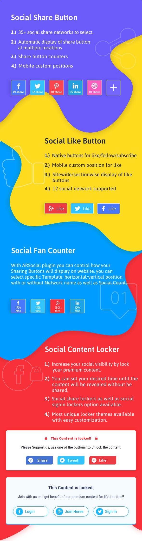 ARSocial - Social Share Buttons & Social Locker Plugin 3