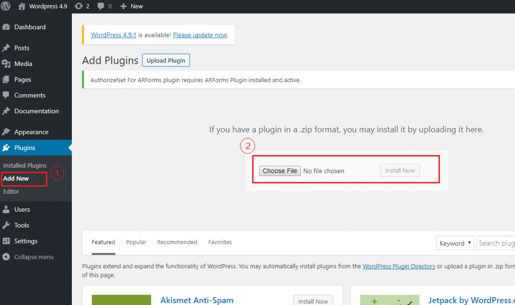 Install Via WordPress Uploader