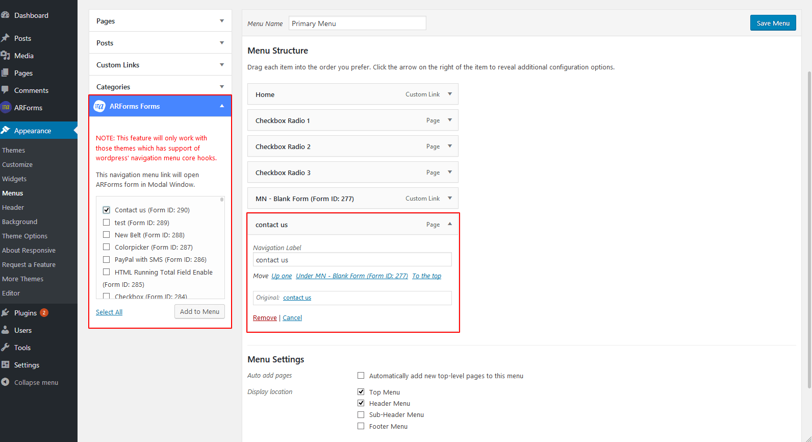 Form in Navigation Menu