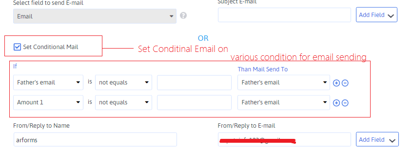 Set Condtional Email Notification Settings