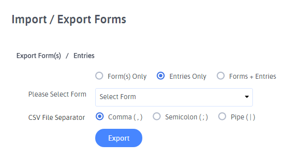 Export Entries as CSV