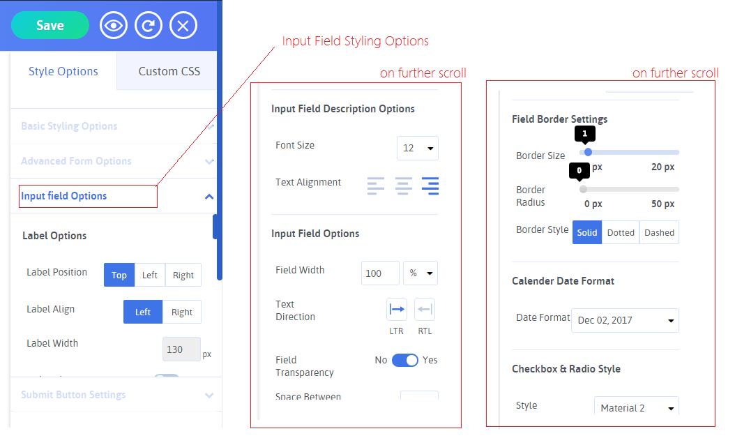 Field Options Stylings
