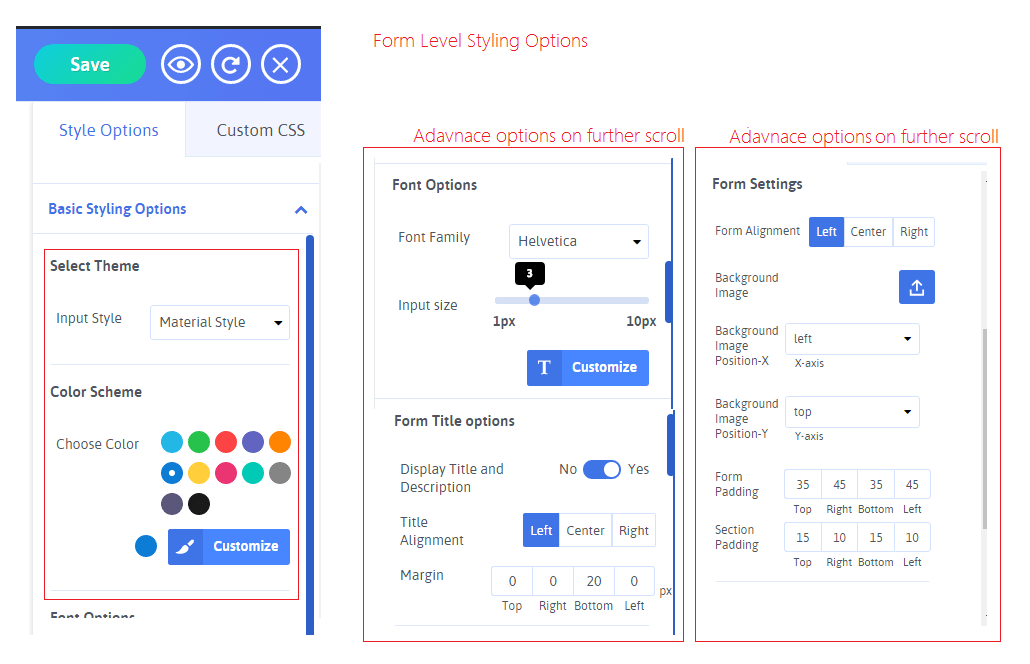 Form Options Stylings