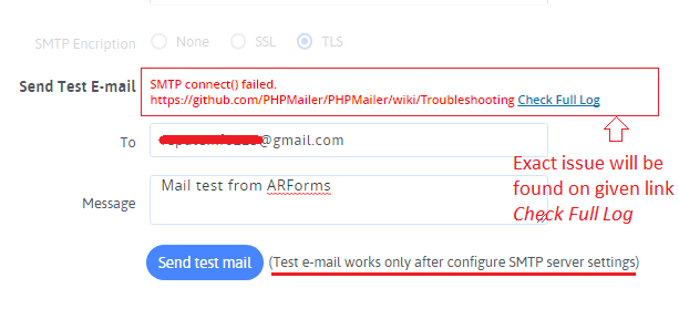 SMTP Test Setting