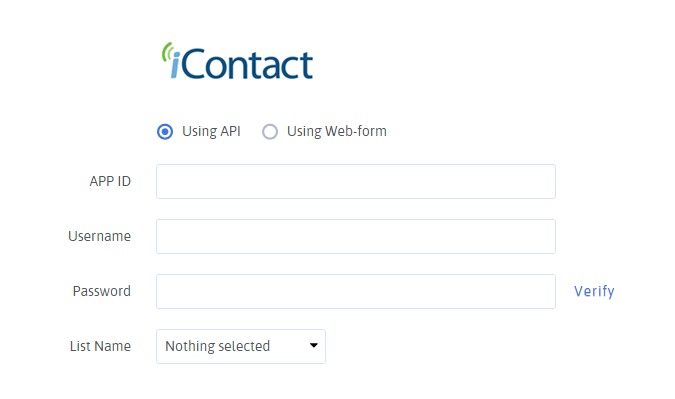iContact Configuration