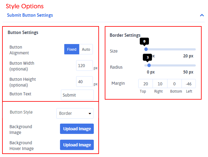 Submit Button Options Stylings