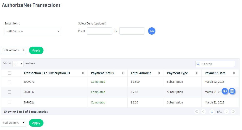 ARFoms Authorize.Net - Authorize.Net Transactions