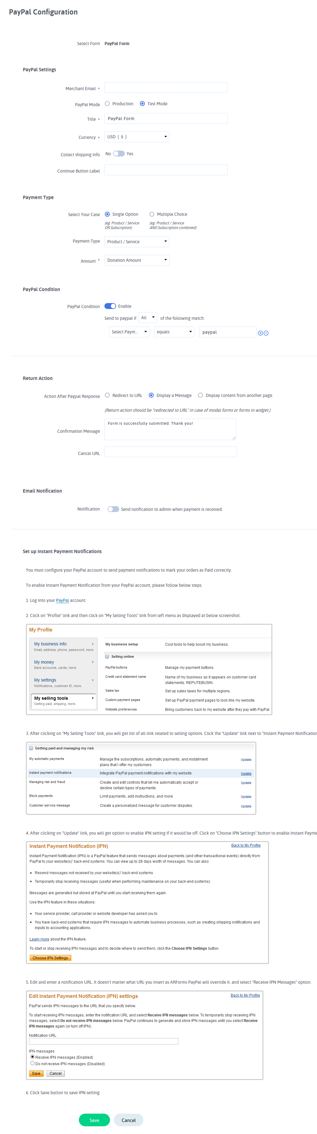 ARFoms PayPal - Configure PayPal Forms