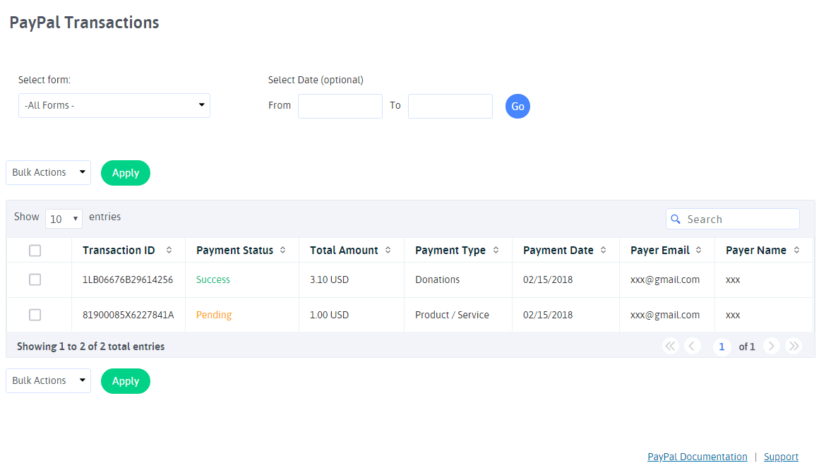 ARFoms PayPal - Paypal Transactions