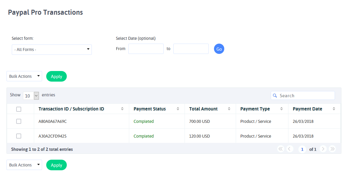 ARFoms Paypal Pro - Paypal Pro Transactions