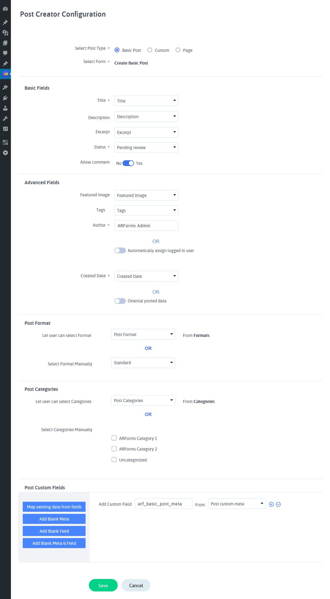 ARForms Post Creator - Configure Post Creator Forms (Standard Post)