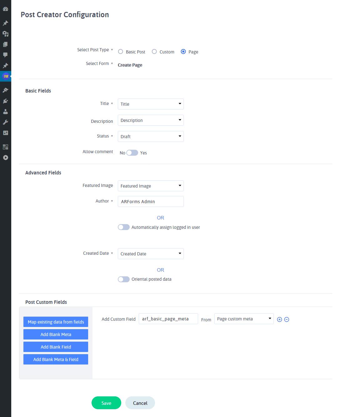 ARARForms Post Creator - Configure Post Creator Forms (Page)