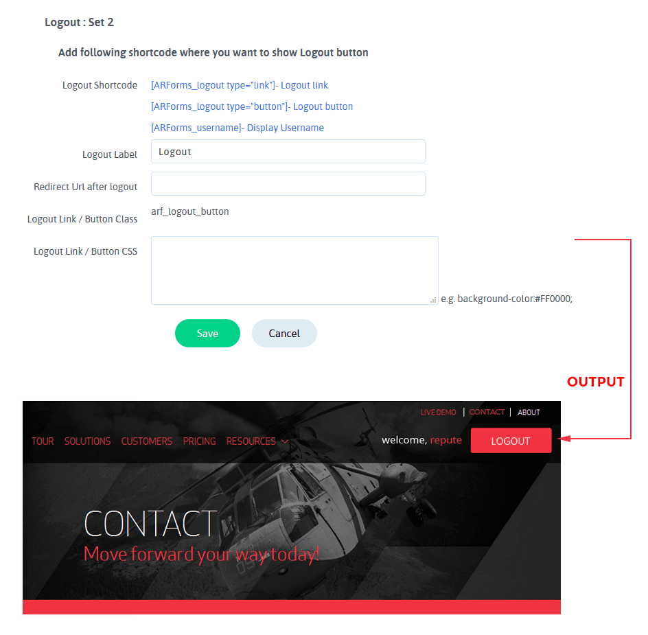 ARARFoms User Signup - Logout Configuration