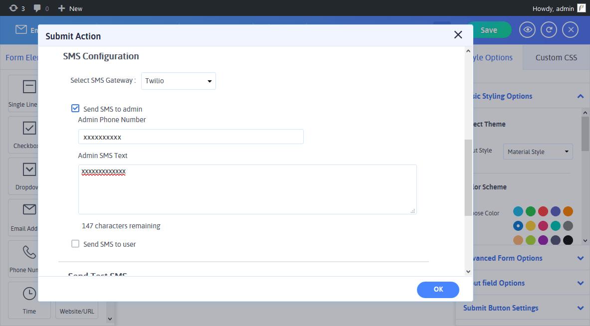 ARARFoms SMS Configuration