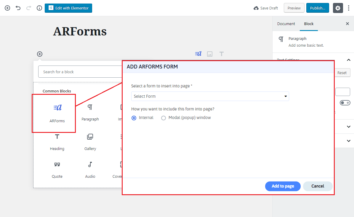 Add ARForms Using Gutenberg