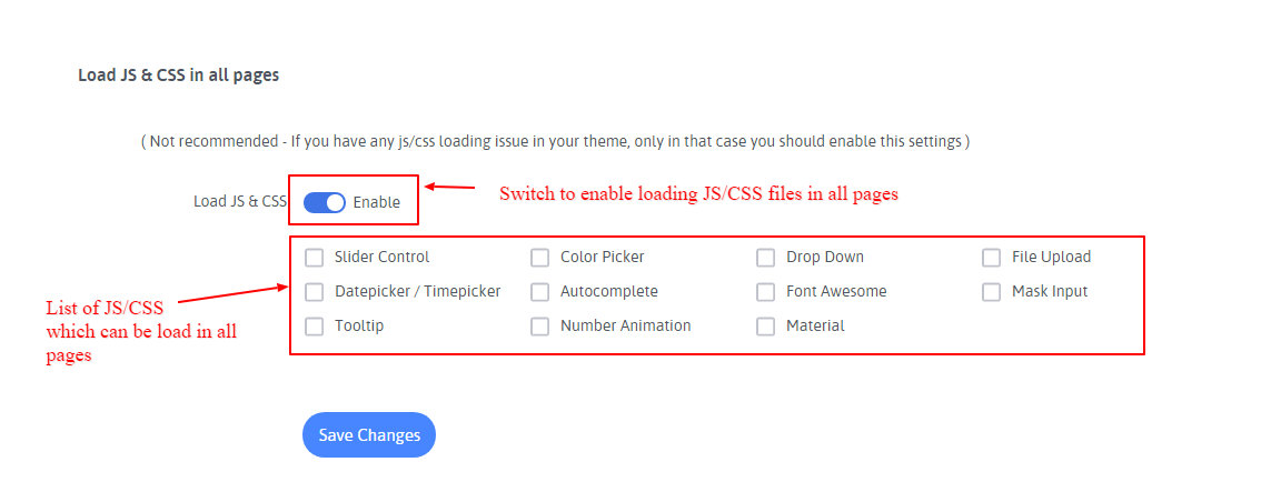 Enalble JS and CSS setting