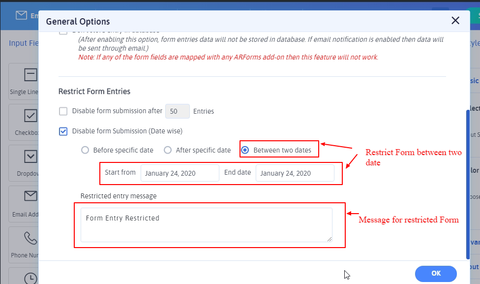 Restrict Entries Between two dates