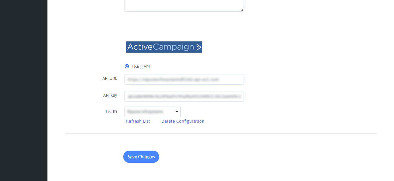 ActiveCampaign Configuration with ARForms