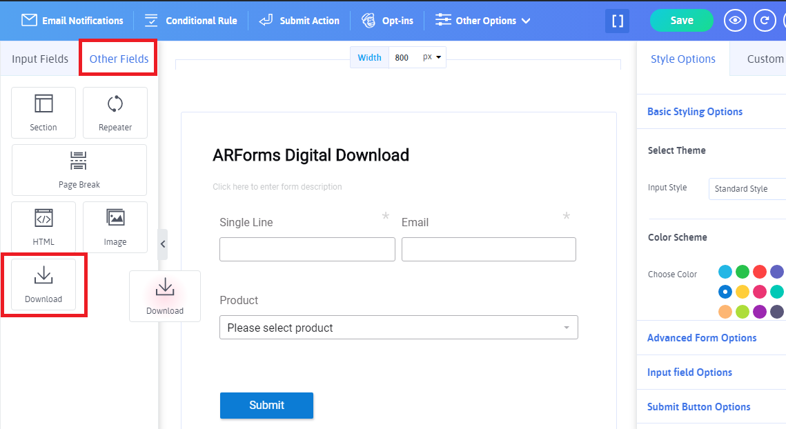 Arforms Digitalproduct add field