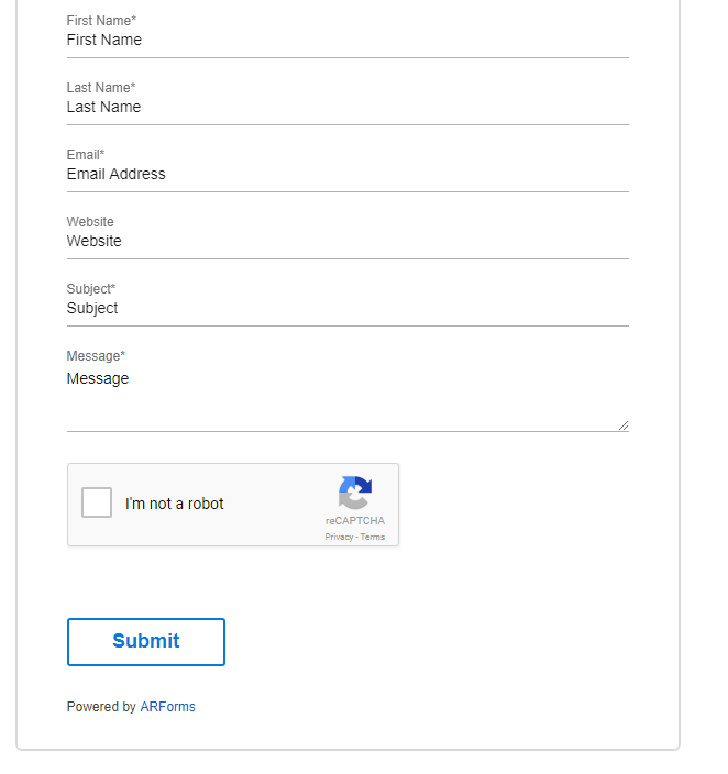 ARFoms Google reCaptcha - Front Field