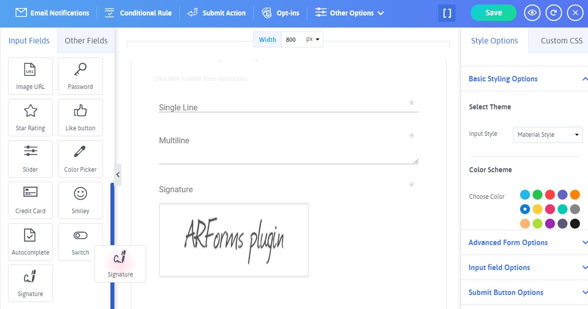 ARFoms Signature -  Add Signature