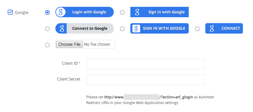 ARForms User Signup - Google Configuration