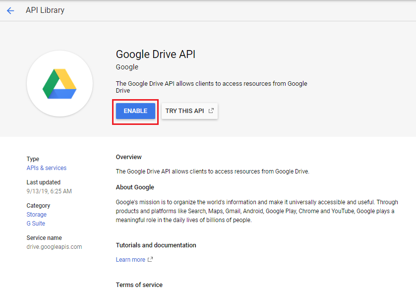 ARFoms Google Spreadsheet - Enable Google Drive API