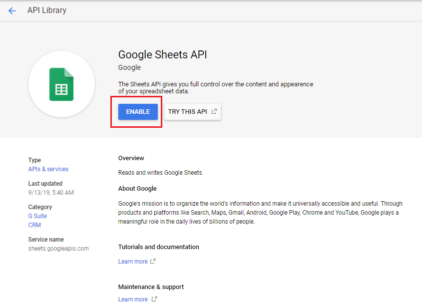 ARFoms Google Spreadsheet - Enable Google Sheets API