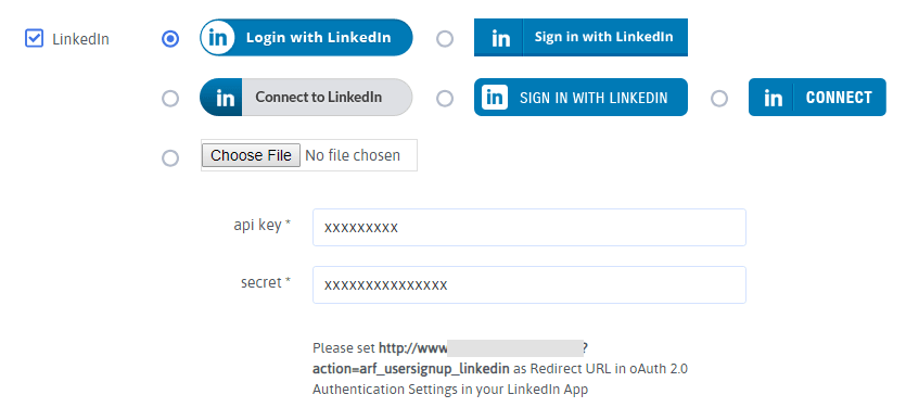 ARForms User Signup - LinkedIn Configuration