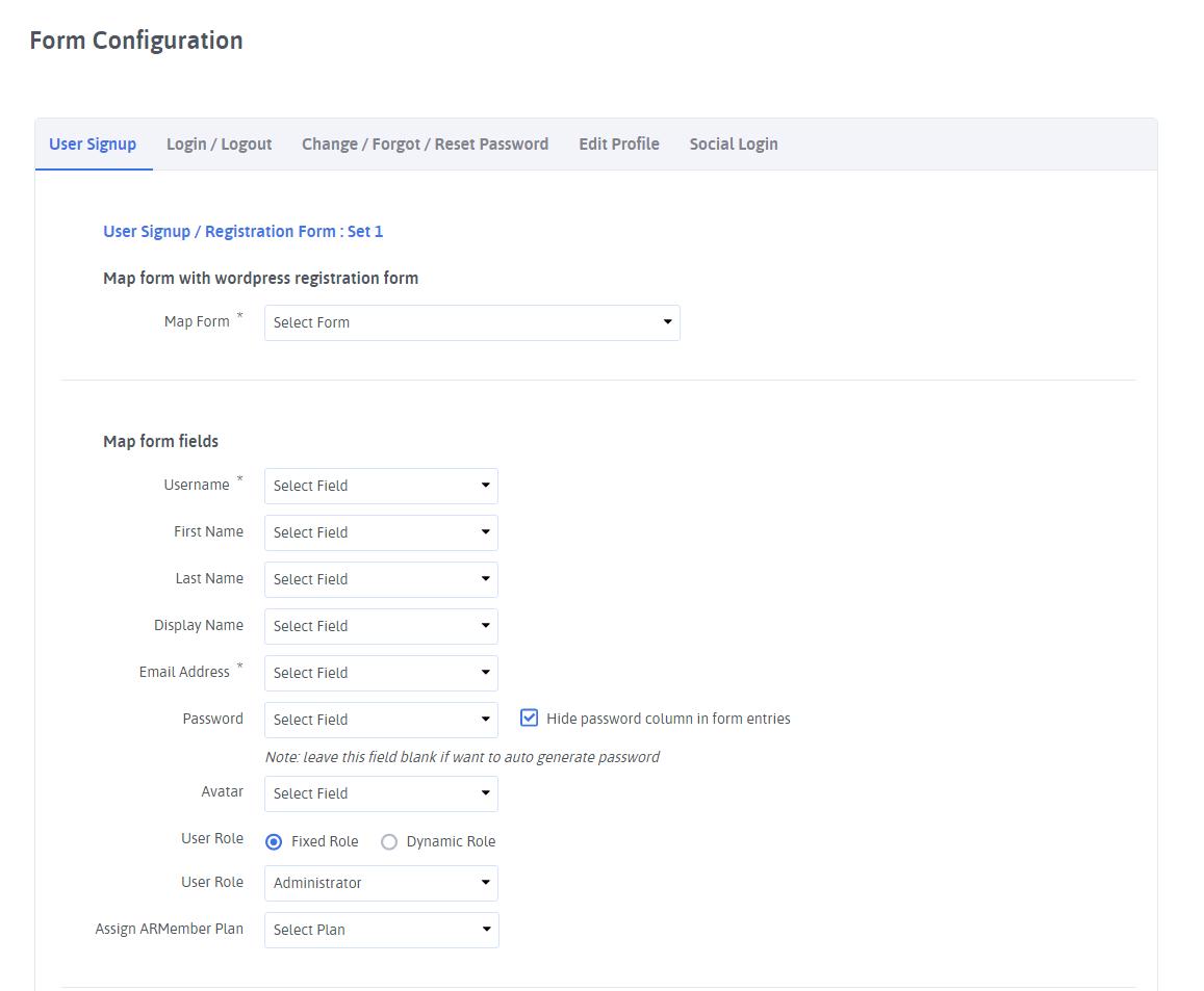 ARARFoms User Signup - Registration Configuration