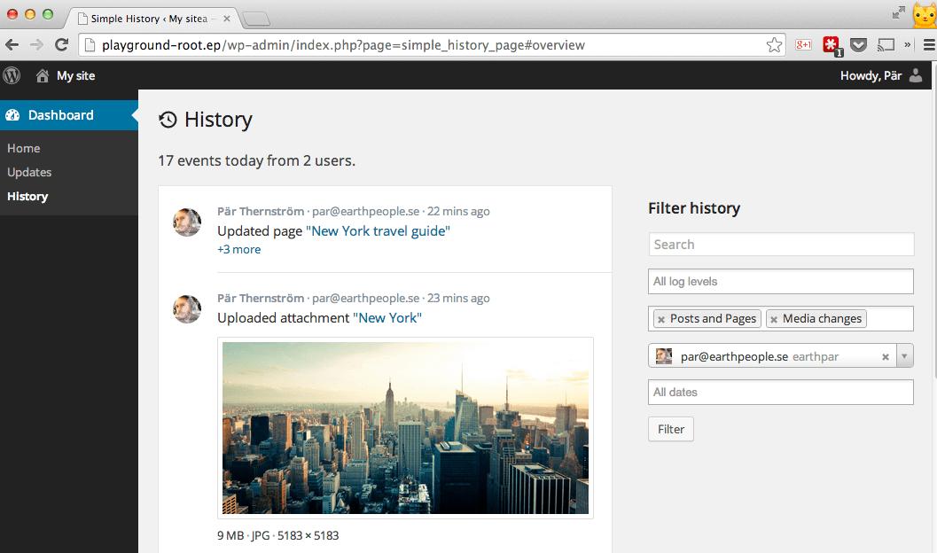 WordPress Audit log Plugins - Simple History
