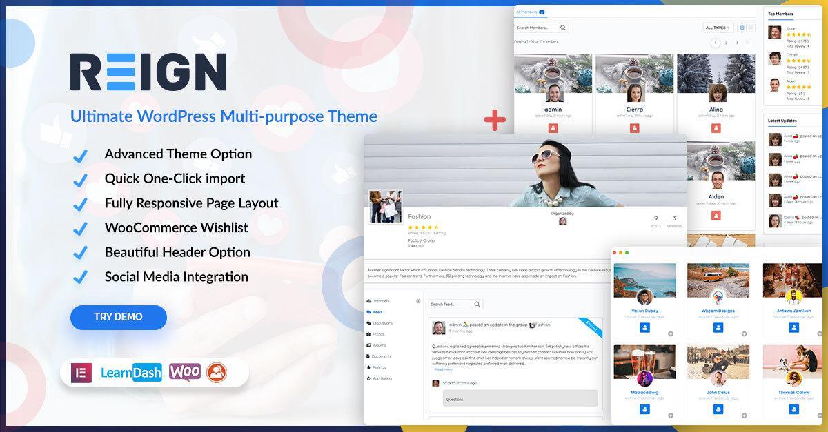 Reign BuddyPress Theme - WordPress Multi-purpose themes