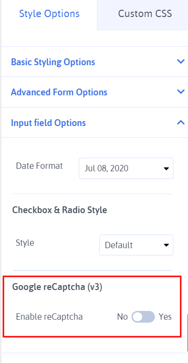 ARFoms Google reCaptcha - Add Field