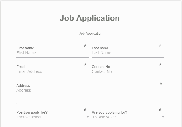 Job Application Form Using ARForms