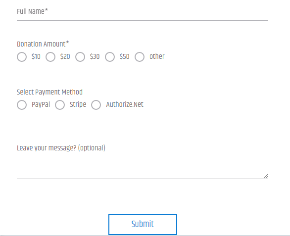 Donation Form Fields with Submit Button