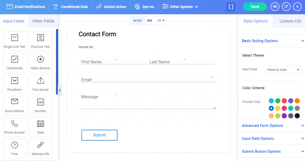 Contact form Fields in ARForms form builder-min