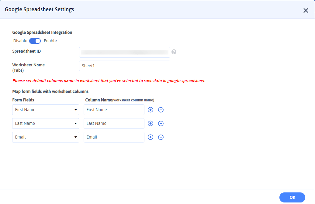 Google Spreadsheet Settings-min